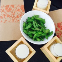 Sake and Edamame at Uchi's outdoor patio