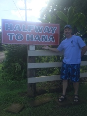 The Halfway to Hana stand has banana bread for sale and a picture op for my Dad