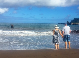 My parents made it all the way to Hana! This is Hana Beach Park