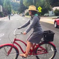 Elisabeth on her bike