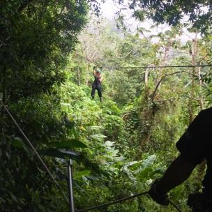 Ziplining in action